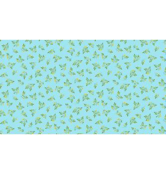 Patchwork blago Leaf spray blue | 110cm