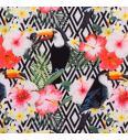 Tukani med cvetjem | digitalni tisk | 95%CO / 5%EL