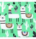Alpaka med kaktusi | svetlo zelena | 95%CO / 5%EL