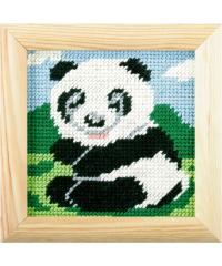 ORCHIDEA Gobelin set Panda na travniku | 13x13cm 1498